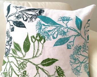 Screen printed cushion, hand printed linen cushion, eucalypt print cushion