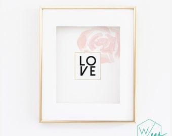 Love Wall Print - Blush and Gold - Wall Print - Blush Pink Flower - 5x7, 8x10, 11x14, 12x16, 13x19 - home decor, Pretty Print (1096)