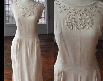 40s Linen Floral Applique Sleeveless Dress