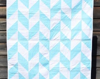 Blue and White Herringbone Quilt
