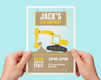 Digger Invite Boys Girls Birthday Party Construction Truck Printable Personalised Digital Invite Excavator Dozer Tractor Kraft Yellow Blue