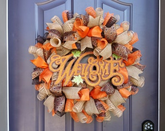 Fall Welcome Ribbon Wreath