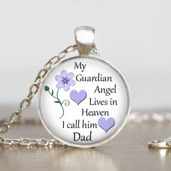 memorial necklace my guardian angel lives in heaven i call