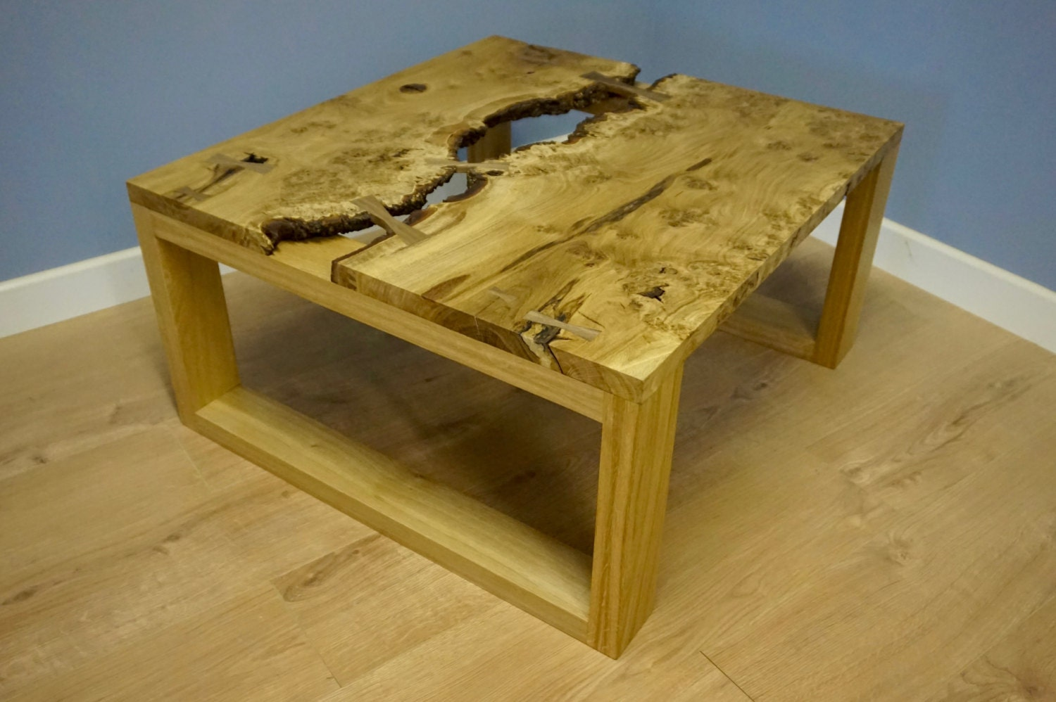Oak burr coffee table for Coffee tables 80cm wide