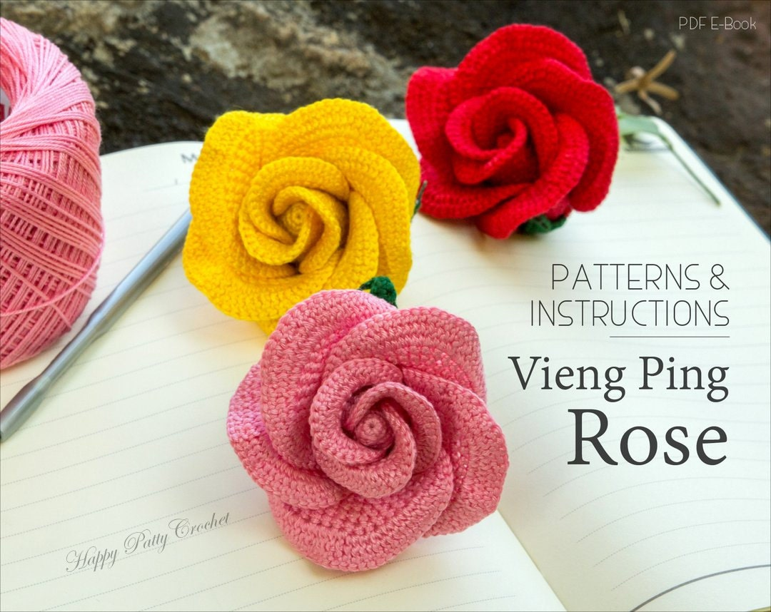 Crochet rose pattern vieng ping rose easy crochet flower crochet rose pattern vieng ping rose easy crochet flower pattern rose applique pattern instant download bankloansurffo Image collections