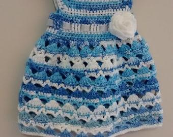 Crocheted Toddlers Dress-self stripped cotton yarn dress