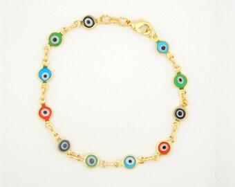 Gold Plated evil eye bracelet multi colors