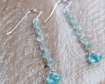 Blue Apatite Dangle Earrings/Apatite Earrings/Blue Apatite Earrings