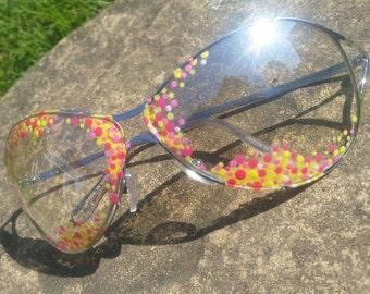 Rave- retro style sunglasses. Handpainted, summer,  vintage, one off. Wearable art.