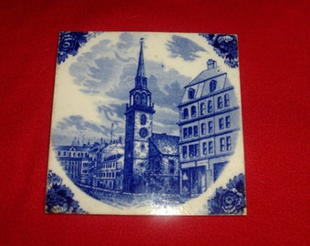 Vintage Wedgewood Old South Church 1899 6x6 rare tile