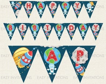 Space Bunting Birthday Banner Instant Download Flag