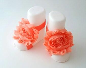 Peach Barefoot Baby Sandals - Peach Theme First Birthday - Baby Shower Gift - Cake Smash Prop - Barefoot Sandals - Newborn Sandals