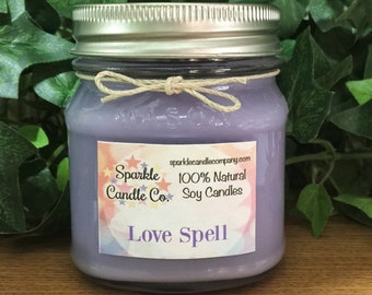 Soy Candle - LOVE SPELL type - 8 oz Mason Jar - Scented Candle - Purple - Highly Scented - Gifts For Her - Valentines Gift