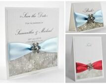 Wedding Invitation, Winter Wedding Invitation, Christmas Wedding, Handmade Wedding Invitations, Borealis Collection - Deposit to Get Started