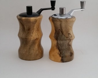 Handcrafted Salt and Pepper mill set, wood, Spalted Tamarind