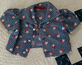Vintage  Red White Blue Stars Doll Blouse 1940's 1950's Home Sewn 4th of July Patriotic Costume
