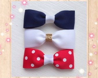 Hair bows, navy hair bows, polka dot hair bows, handmade hair bows, baby hair bows, hair accessory, hair bow clip, glitter bows, red bows