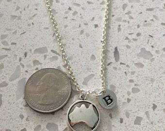 Australia initial necklace,  Australia necklace, Country jewelry, Australia necklace, Australia jewelry