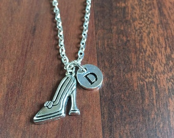 KIDS SIZE - Stiletto High Heel Charm, Shoes charm Necklace, initial necklace, initial hand stamped, Personalized necklace, antique silver