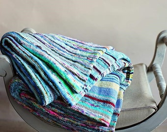 Mega Love Lap Blanket - Multicolored Chunky Knit Warm Soft Merino Wool Cozy OOAK Afghan Cover Accent Throw