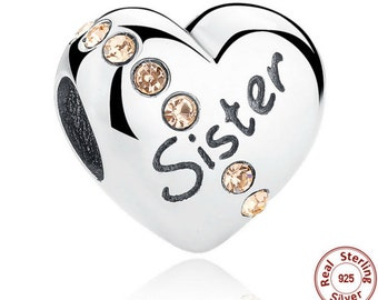New Trendy 925 Sterling Silver Sister Floating Heart Charm fit PANDORA Bracelet, PANDORA Bracelet, Pandora Charm, Pandora Beads, Gift
