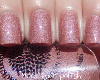 Coral Pink Holo Shimmer Nail Polish -- Capital Rose Garden by Black Dahlia Lacquer
