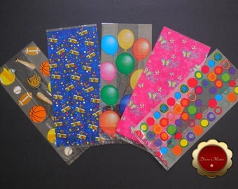 25 Cello Favor Bags, Party Favor Bags, Assorted Birthday Favor Holders, Cello Candy Bags, Loot Bags, Party Supplies, Candy Party Bags
