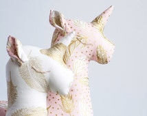 Lux Stuffed Unicorn Toy - Animal Pillow - Unicorn Toy - Gold Blue Pink Baby Decor - Baby Nursery Decor - Baby Shower Gift - Unicorn Pillow