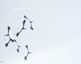 Bird Baby Mobile - Black White Nursery - Black White Mobile - Stork Mobile - Baby Shower Gift - Wood Mobile - Gender Reveal Gift