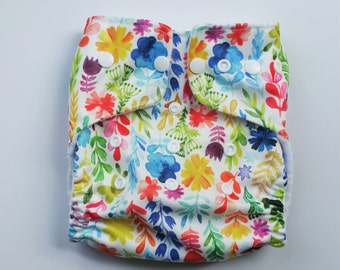 One Size Pocket Diaper Watercolor Flowers