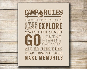 PRINTABLE Camp Rules RV Decor Camping Printable Camper Art