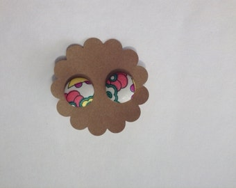Pink Floral Covered Button Earrings