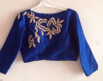 Hand embroidered raw silk blouse