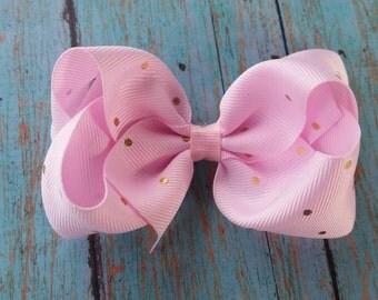 Pink and Gold Polka Dot Hair Bow - Polka Dot Bow - Hair Bow - Baby Pink Bow - Gold Polka Dots - Toddler Bow - Polka Dot Birthday - Pink Bow