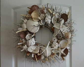 """21"""" Sea Shell Wreath on Birch Twig with Brown Sea Branches & Flat Pectens"""
