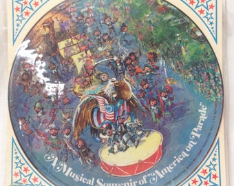 """Walt Disney World A Musical Souvenir of """"America on Parade"""" 1975 LP Picture Disc Record"""