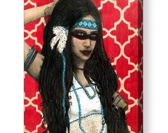 ACRYLIC PRINT* Native Girl High Quality Acrylic Print, Original Drawing, Wall Art Decor