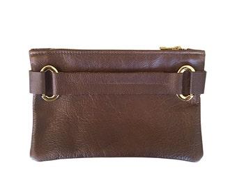 Leather Wrist Strap Clutch // Brown