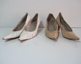 "JONAK PARIS Dress Shoes Size: 6.5 Heel 2.5"" Women's Leather Point Toe LOT of 2 Vintage"
