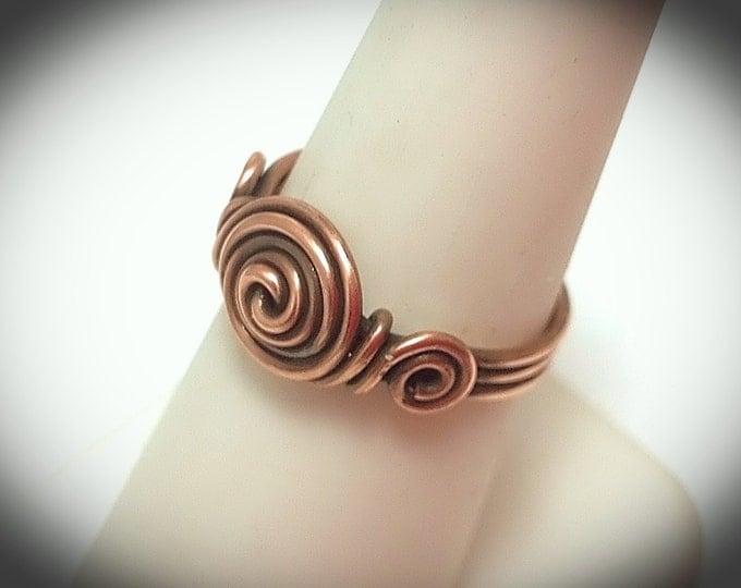 Copper wire triple band crescent ring