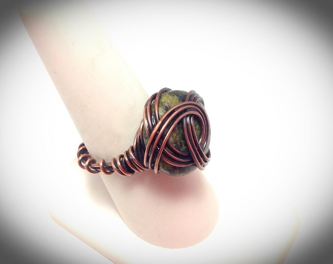 Copper and jade statement ring