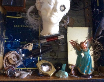 "Assemblage AlTered ArT Box ""CELSTIAL"" FoUnd ObjectS SteamPunK"
