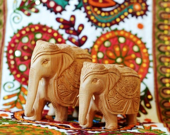 Large Hand made Indian wooden Elephant figurine.