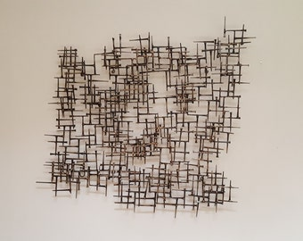 Abstract Nail & Bronze Wall Sculpture