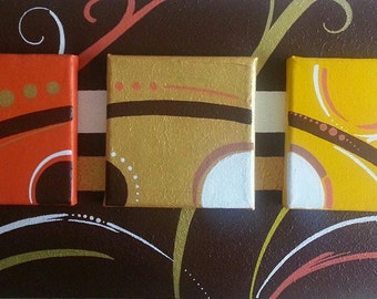 painting modern volume 3D acrylic on canvas brown orange yellow white gold