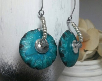 Unique earrings, Polymer clay jewelry, Polymer clay earrings, Modern earrings, Blue earrings, Bold earrings, Silver earrings, Teal earrings