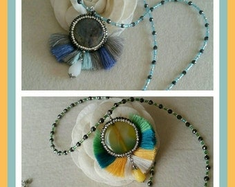 Rainbow peacock necklace