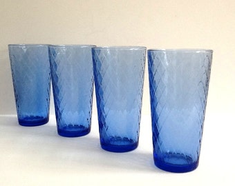 Libbey Blue Coolers, Blue Tumblers, Set of 4, 20 Ounce Beverage Glasses