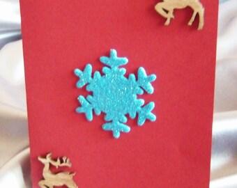 Christmas greeting card with reindeer