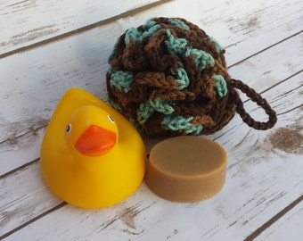 Crochet Bath Puff, Crochet Shower Puff, Crochet Bath Sponge, Brown Bath Puff, Teal Bath Poof, Multicolored Body Loofah, Colored Bath Puff